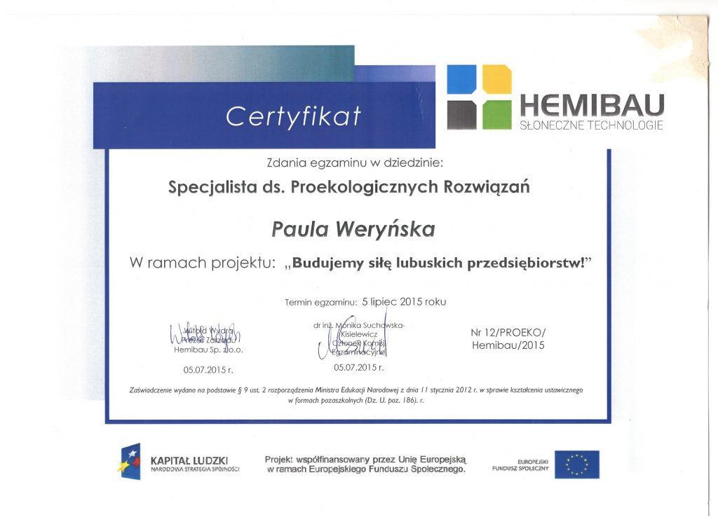 Certyfikat proekolog — kopia