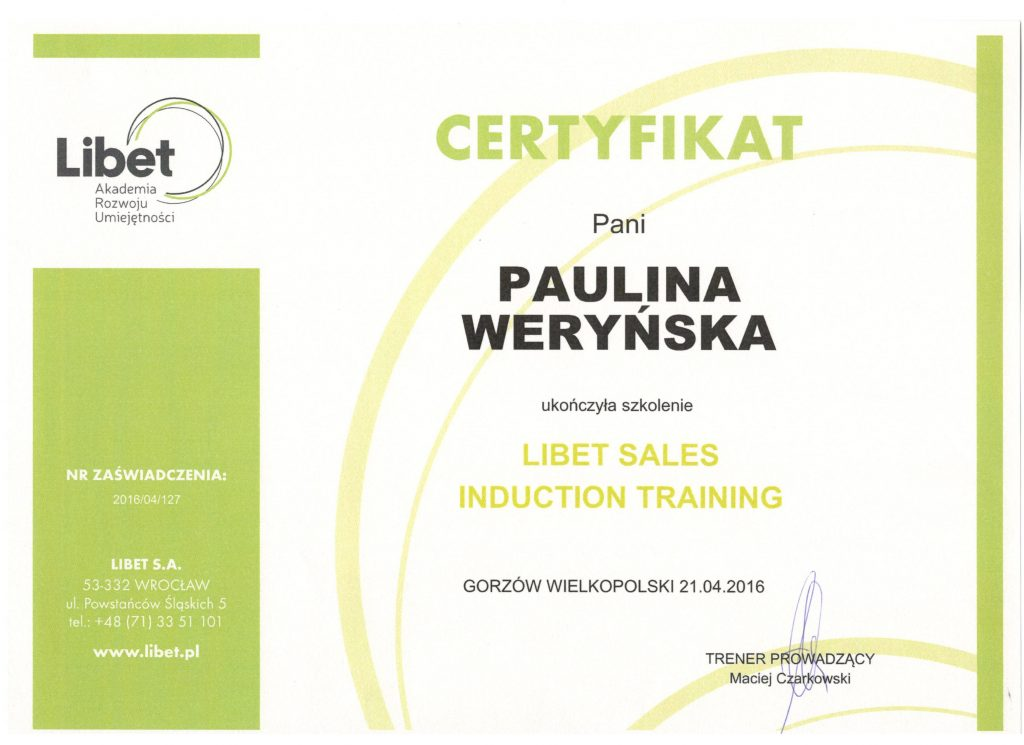 certyfikat paula